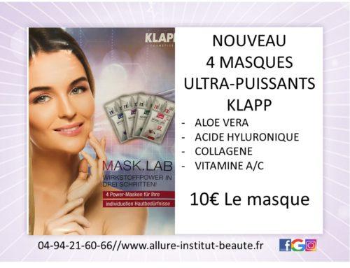 """Offre du moment : 4 masques ultra puissants """"KLAPP"""""""